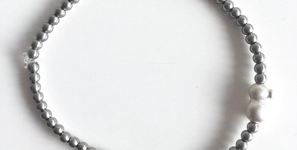 Bracelet Edelstahlperlen mit Silberperle