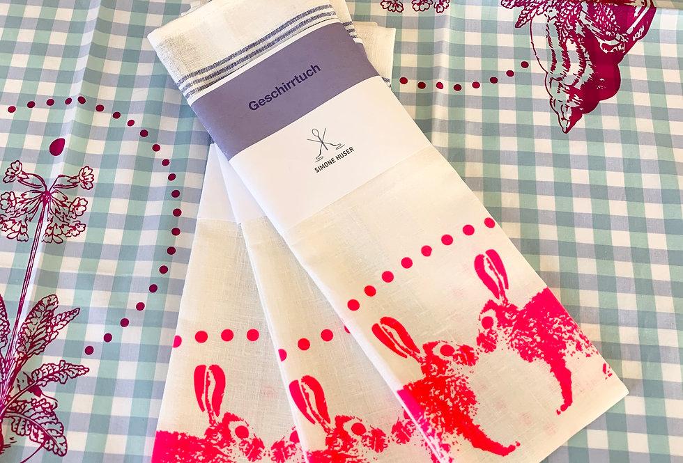 Geschirrtuch - Hasen pink