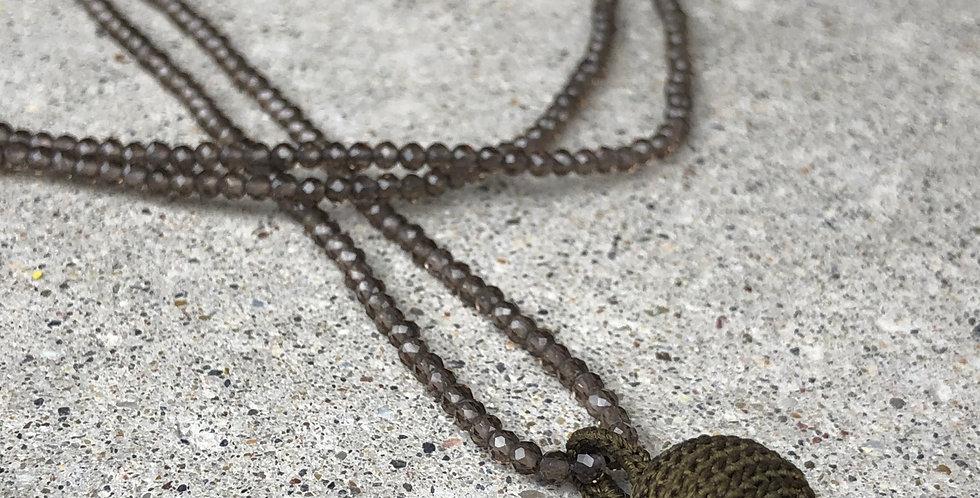 Necklace Smoky Quarz with Silk Pendant