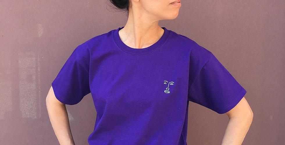 T-Shirt violet (handbestickt)