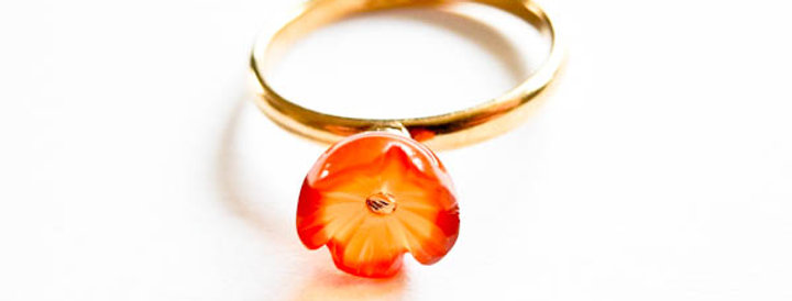Ring Orange Flower Gold