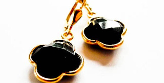 Earrings Black Onyx Gold