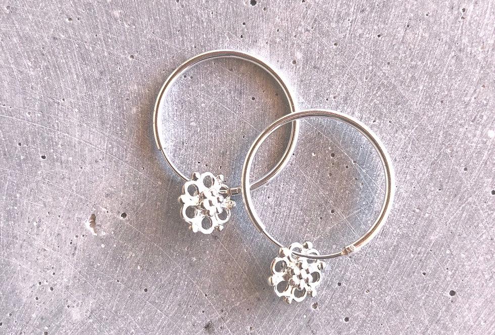 Silver Hoops Flower