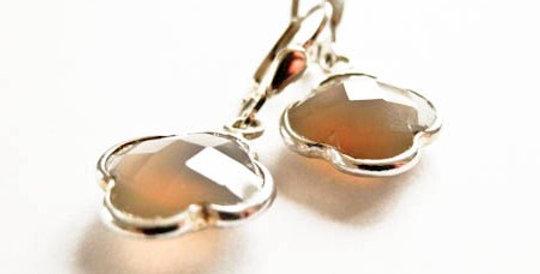 Earrings Achat Silver