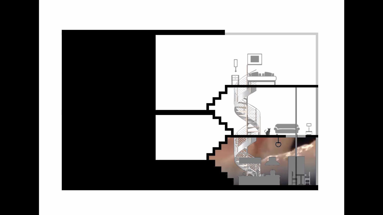 EKRAN EV (Begüm Kocabalkanlı) Modern mimarlığın cepheleri saydamlaştırması ve içeride olanı dışarıdan görünür yapması ile cepheler de binanın içi akış ve kurgusuna yönelik fikirler edindiğimiz ekranlara dönüşmeye başlar. Artık özelimiz ve kamusalımız arasında bir ayrışmanın kalmadığı ve hayatlarımızı göstererek yaşamayı tercih ettiğimiz 21. yy 'da peki evlerimiz bu değişime nasıl ayak uydurabilir? Günlük yaşantımızda ev içinde yaptığımız sporu, yemeği ya da izlediğimiz filmi bile sosyal medya üzerinden performatif şekillerde paylaşmaya çalışırken, evlerimizde kendi mahremimizi tanımlamaya yarayan betonlar hala anlamlı mıdır? Ekran Ev, artık hayatımızın ekranlara sığarak dijitalleştiği dönemde z ekseninden kurtularak evi de iki boyuta indirgemeyi hedefler. Instagram sayfa akşını andırırcasına ev içi kurguyu çepere taşıyarak, günlük aktivitelerin en performatif şekilde kentliyle iç içe yapıldığı bir kurgu hayal eder. Cephenin ekrana, kentlinin ise izleyiciye dönüştüğü bu kurguda, görünür olmayan alanlar için bir senaryo tanımlanmaz. Sonuç olarak öneri kesit, farklı karakterlerin dijital platformlarla ile olan ilişkilerini ve olası mekân kurgularını yansıtmayı hedefler. REFERANSLAR: 1- https://www.youtube.com/watch?v=tjBN8zYrPpM&feature=emb_title 2- https://www.youtube.com/watch?v=k1vCrsZ80M4&feature=emb_title 3- https://edition.cnn.com/2013/05/17/opinion/gallery/arne-svenson-neighbors/index.html 4- http://www.reviewarchitecture.com/reviews/kissingarchitecture 5- https://d2w9rnfcy7mm78.cloudfront.net/8289235/large_c7d24249625fe4cc5d648b2fe1855d97. jpg?1597087090?bc=0 6- https://d2w9rnfcy7mm78.cloudfront.net/8289231/large_ae5b8ad350a34f6e9ccb21d624117e01 .png?1597087074?bc=0 7- https://d2w9rnfcy7mm78.cloudfront.net/8326764/original_328b10cac33720b921156bb25baab 6da.jpg?1597351739?bc=0