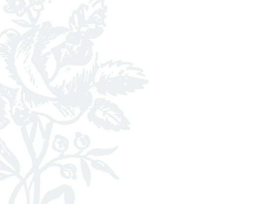 Background image: line drawing of light gray bouquet of roses against white, positioned on left