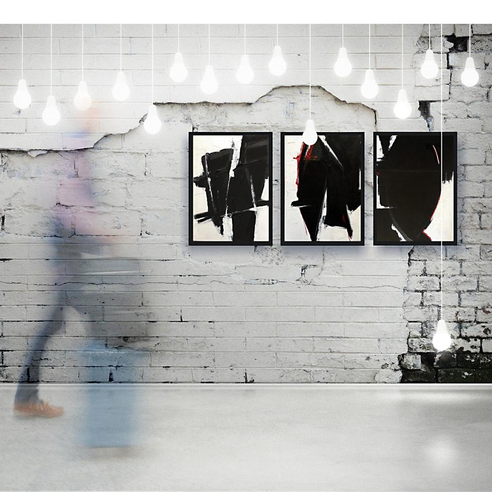 Triptych: black on white
