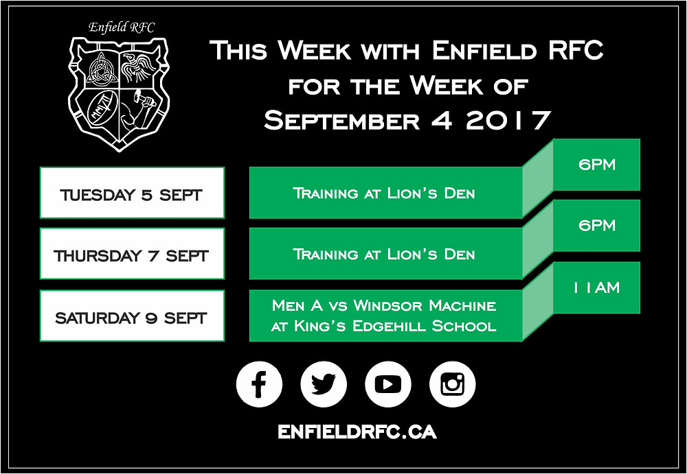 This week with Enfield RFC Sept 4, 2017