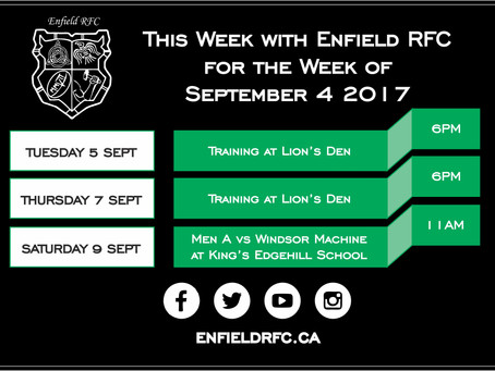 This week with Enfield RFC - Sept 4, 2017