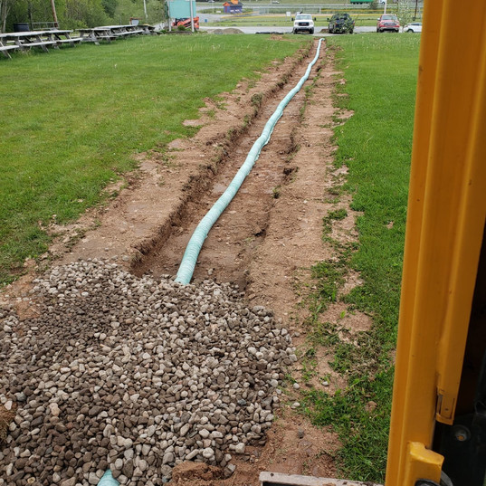 Drainage pipe and clearstone at north try zone