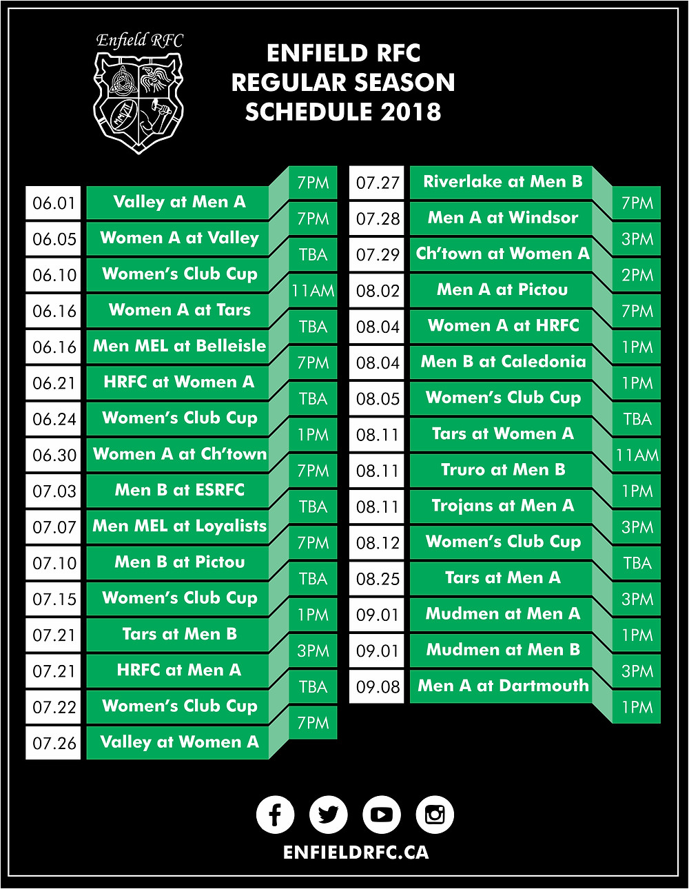 Enfield RFC 2018 Schedule