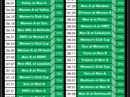 Enfield RFC Regular Season Schedule 2018