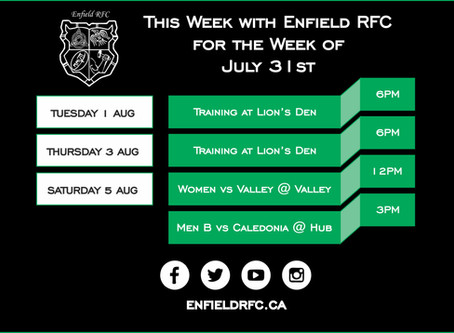 This week with Enfield RFC: July 31st, 2017