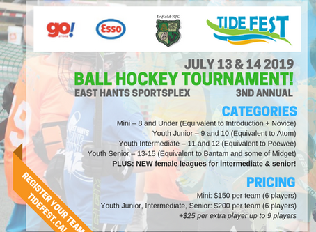 Tide Fest Ball Hockey Tournament presented by Go!Store at your local Esso and Enfield RFC