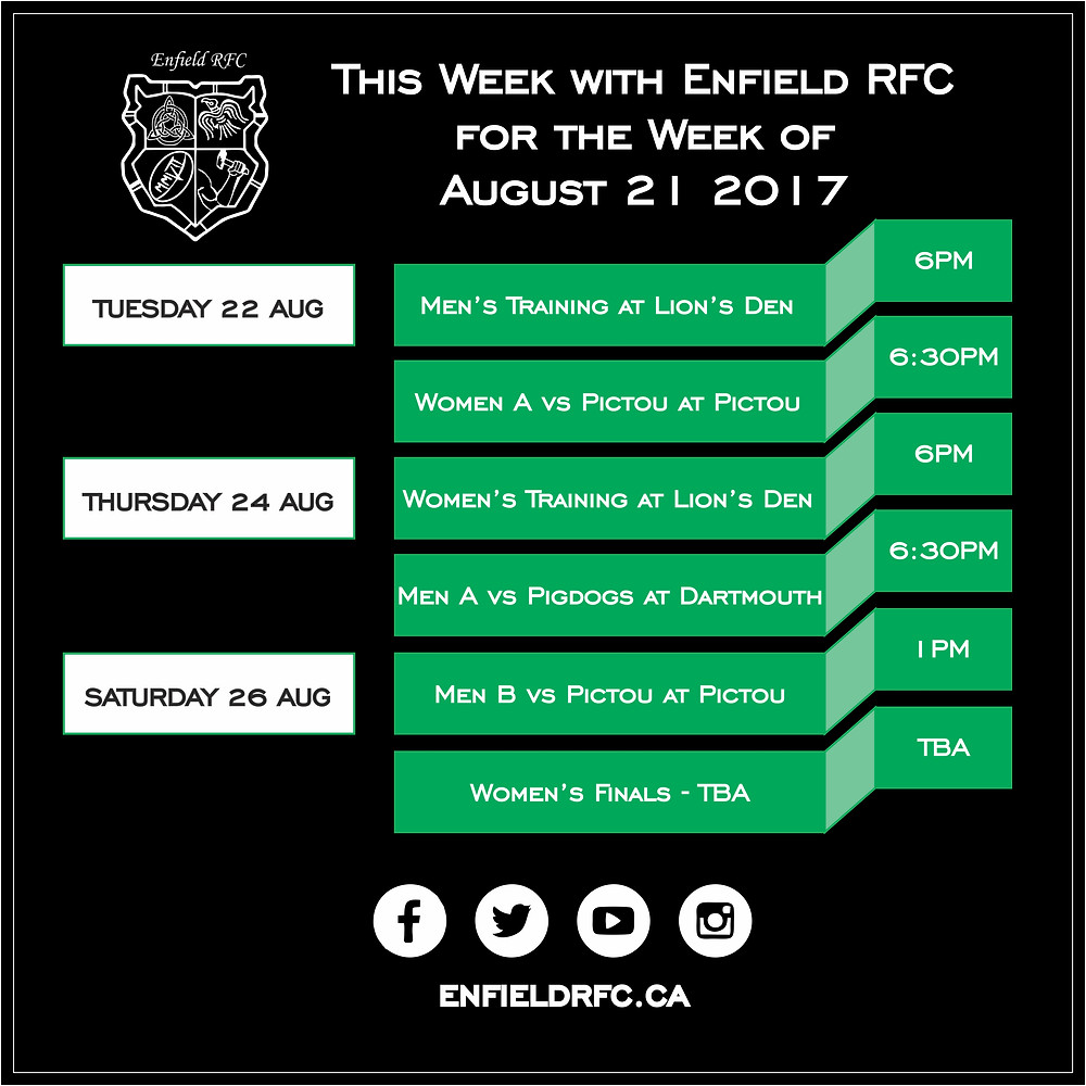 This week with Enfield RFC - Aug 21, 2017