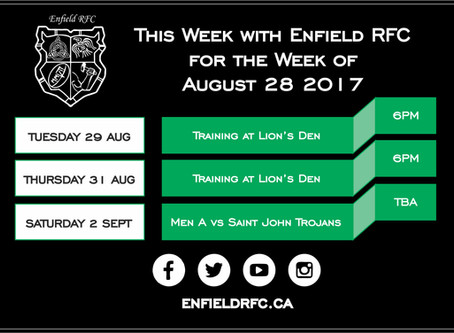 This week with Enfield RFC: August 28, 2017