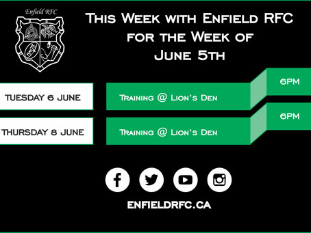 This week with Enfield RFC: June 5th, 2017
