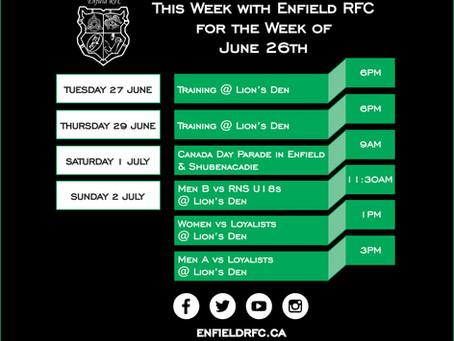 This week with Enfield RFC: June 26, 2017