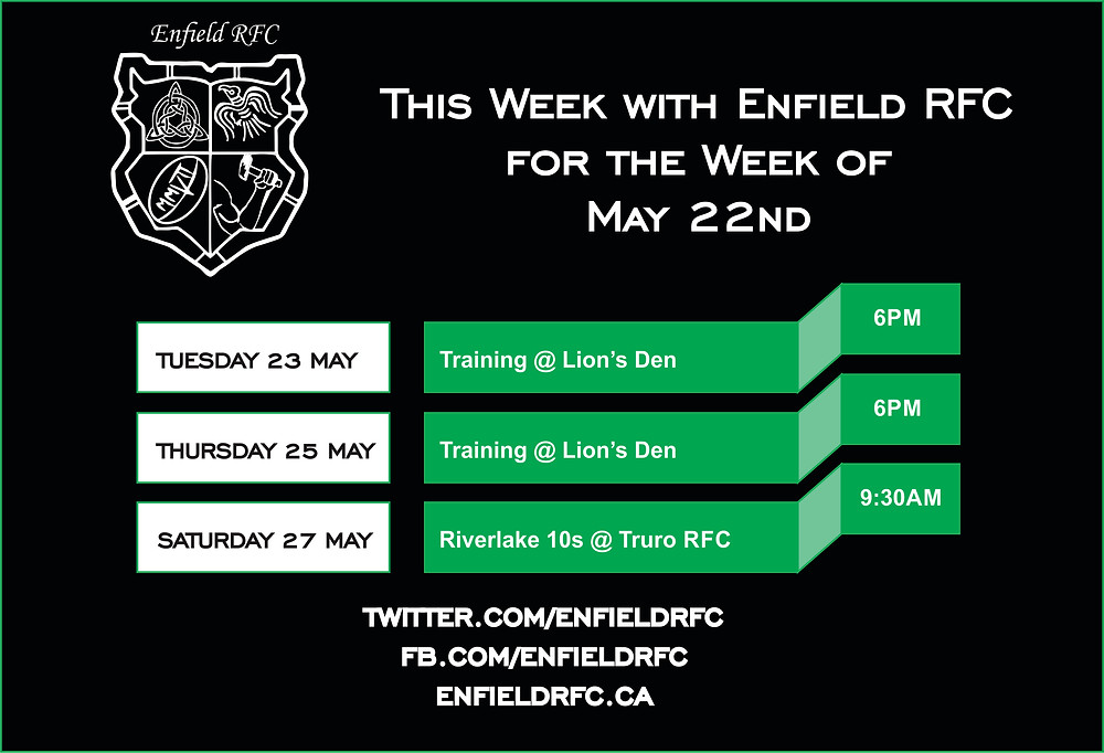 This week with Enfield RFC May 22nd, 2017