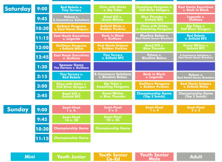 Tide Fest's Ball Hockey Tournament Schedule