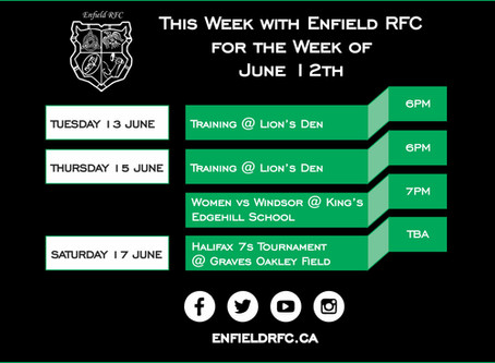 This week with Enfield RFC: June 12th, 2017