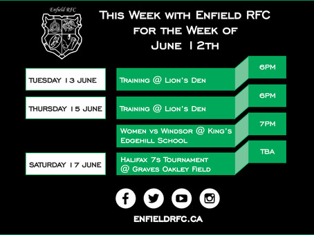 This week with Enfield RFC: June 12th, 2017