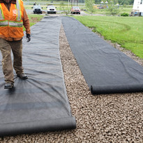 Geotextile over clearstone