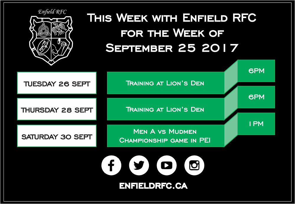 This week with Enfield RFC Sept 25, 2017