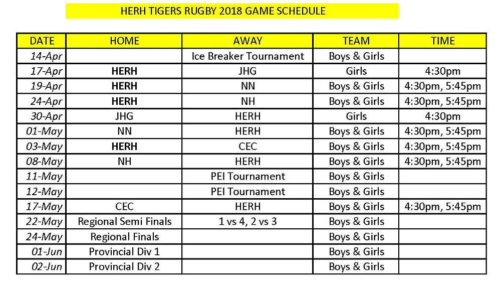 2018 HERH Rugby Schedule