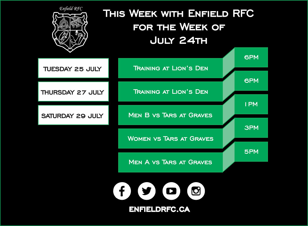 This week with Enfield RFC July 24, 2017