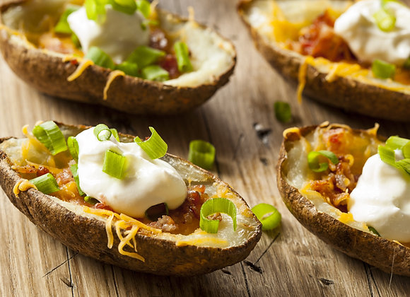 Potato Skins with Cheese & Bacon; Cheese & Chive