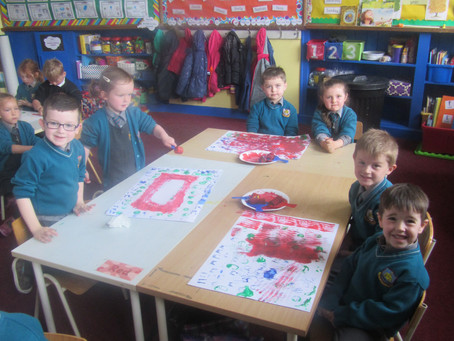 Printing with Paint in Junior Infants