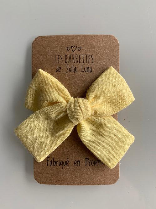 Barrette anti-glisse aspect lin jaune