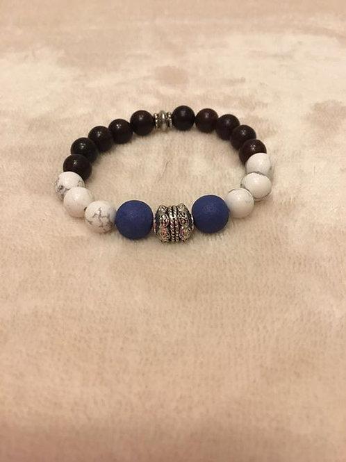 White Howlite and Wood Bracelet