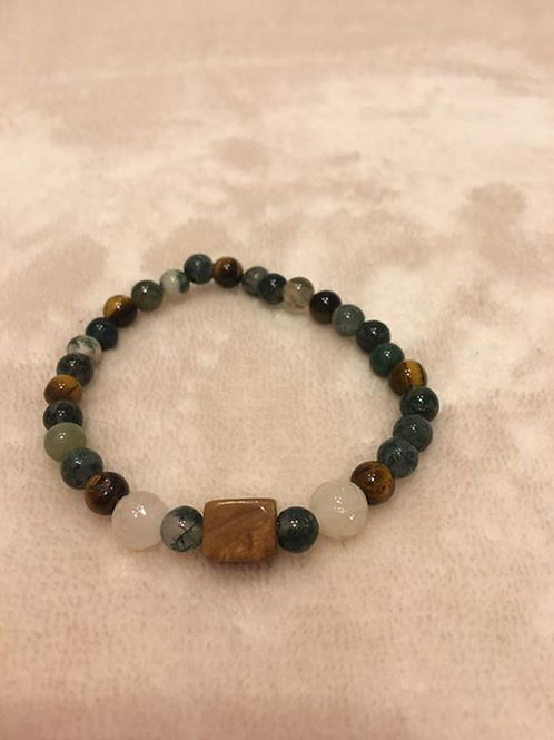 Jasper, Tigers Eye and White Jade Bracelet