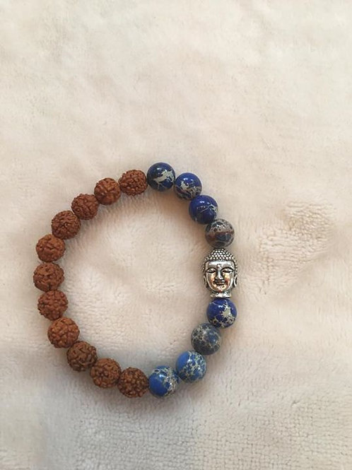 Lapis Lazuli and Rudraksha Seed Bracelet