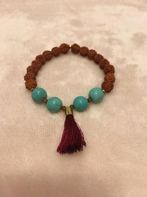 Rudraksha Seed and Turquoise Bracelet