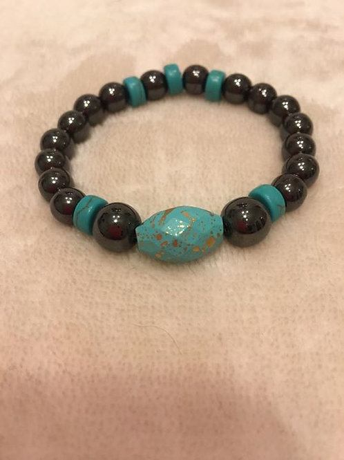 Turquoise and Hematite Bracelet