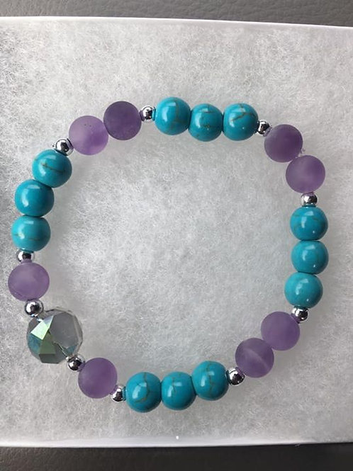 Turquoise and Amethyst Bracelet