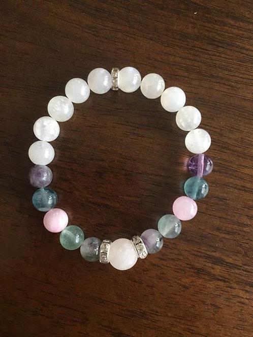 Moonstone, Fluorite, Rose Quartz Bracelet