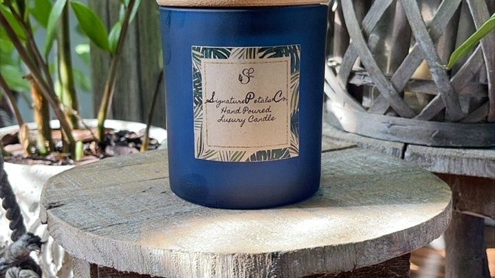 Indigo Frosted Glass w/ Bamboo Lid   8oz