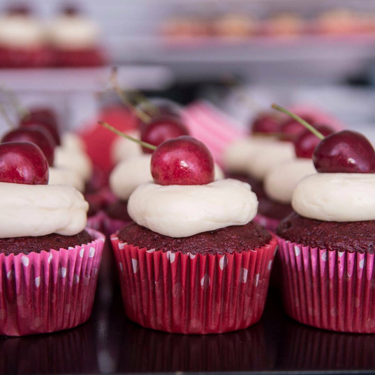Red Velvet Cupcakes topped with Cherries