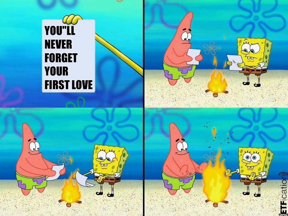 Spongebob throwing paper into fire meme