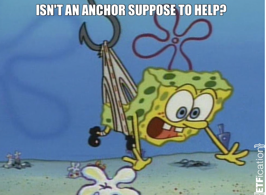sponge bob being pulled away, spongebob anchor