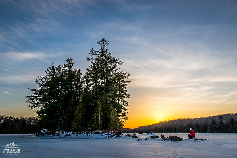 Print 1-012 - Winter Camping Sunset