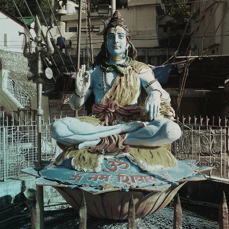 Blue Shiva, in Rishikesh, India