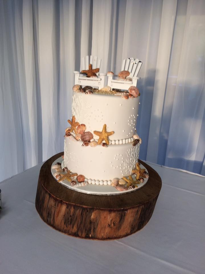 Beachside Inspired wedding cake