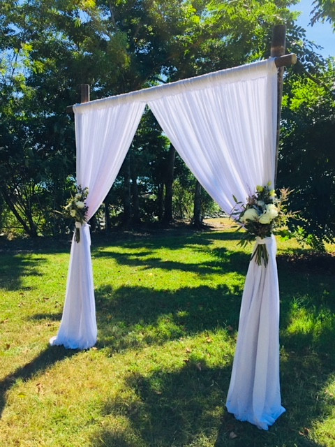 Bamboo Arbour with Floral Posy Adornments