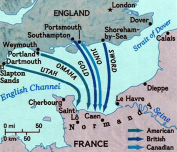 Map of Normandy Invasion from U.S. Army Transportation Museum. Note Calais to the North