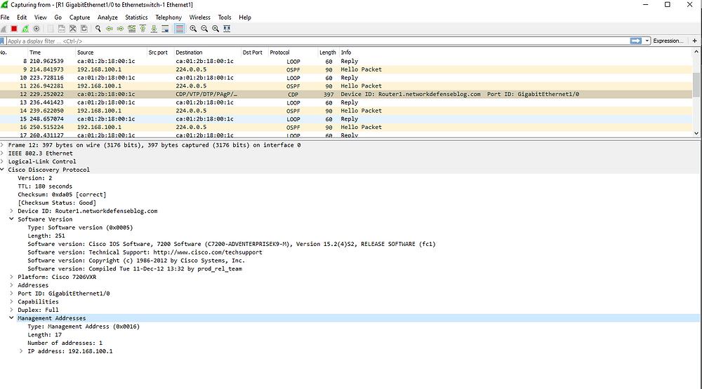CDP Packet, Notice Make, Model, IP address, Software versio